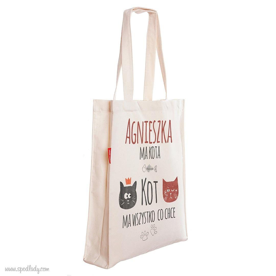 Personalizowana torba dla wielbicielki kotów - Torba głęboka ecru profilem