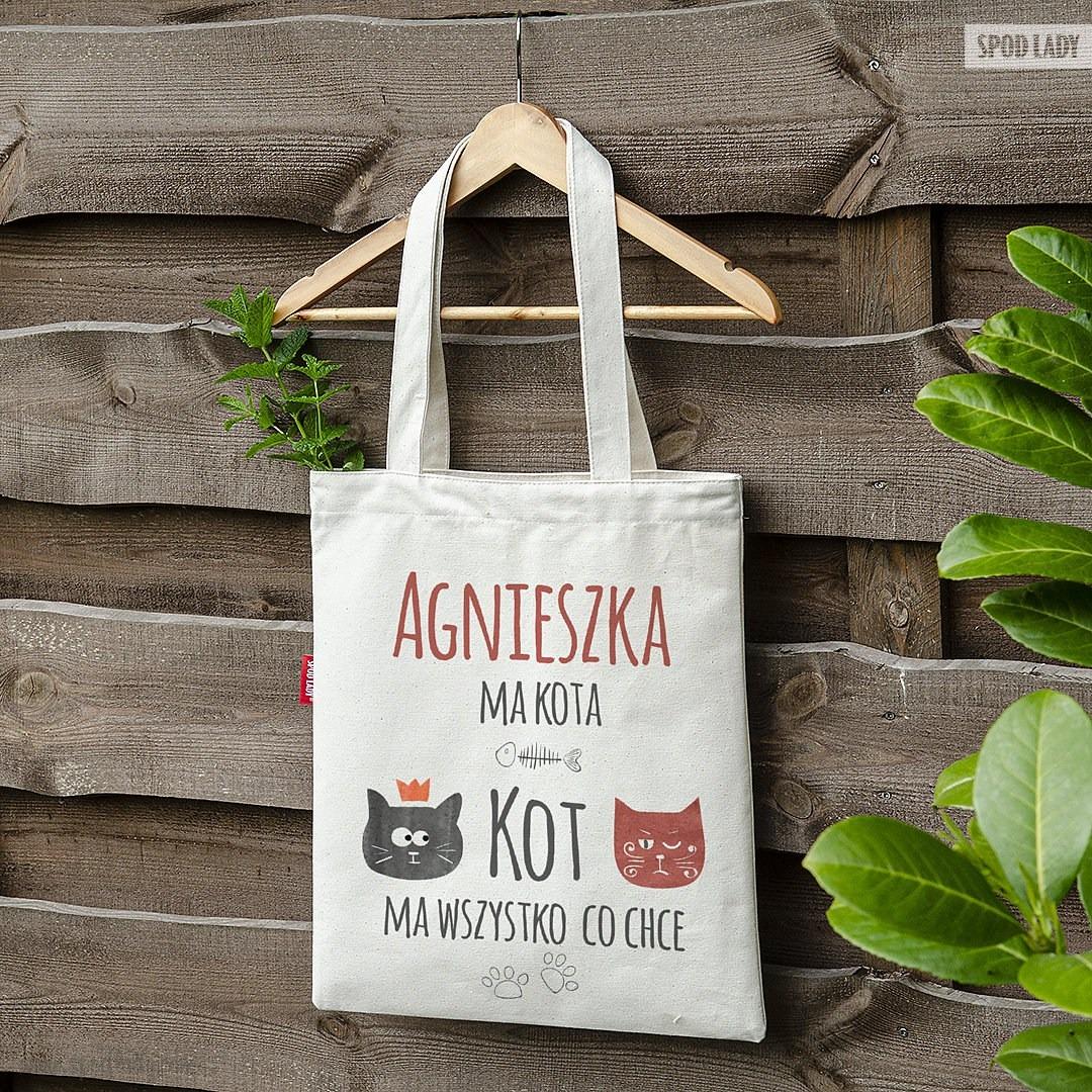 Personalizowana torba dla wielbicielki kotów - Torba głęboka ecru na ramieniu