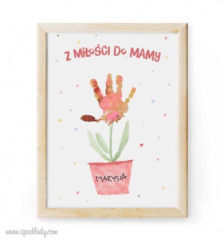 Pomysł na prezent dla mamy. Obrazek do ozdobienia odciskiem rączek dziecka.