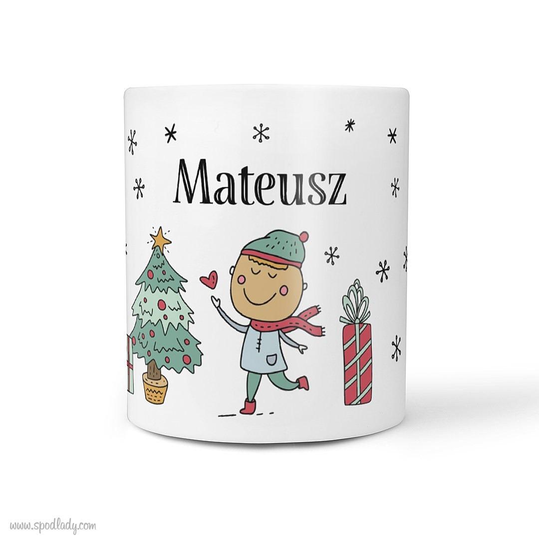 ZZZ - Zestaw świąteczny czarny Rysunkowy /112 - kubek biały główne przód