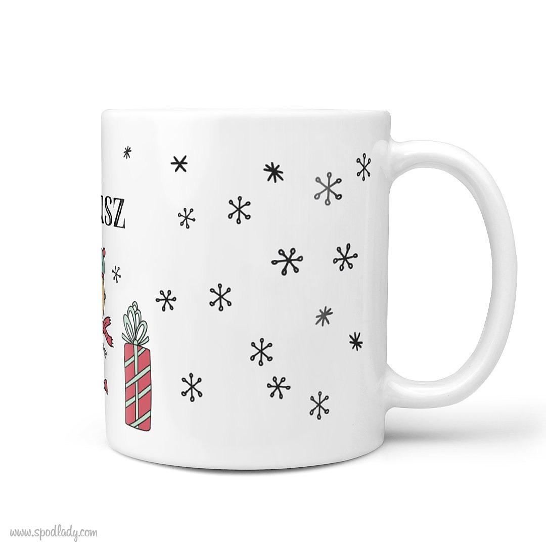 ZZZ - Zestaw świąteczny czarny Rysunkowy /112 - kubek biały główne bok