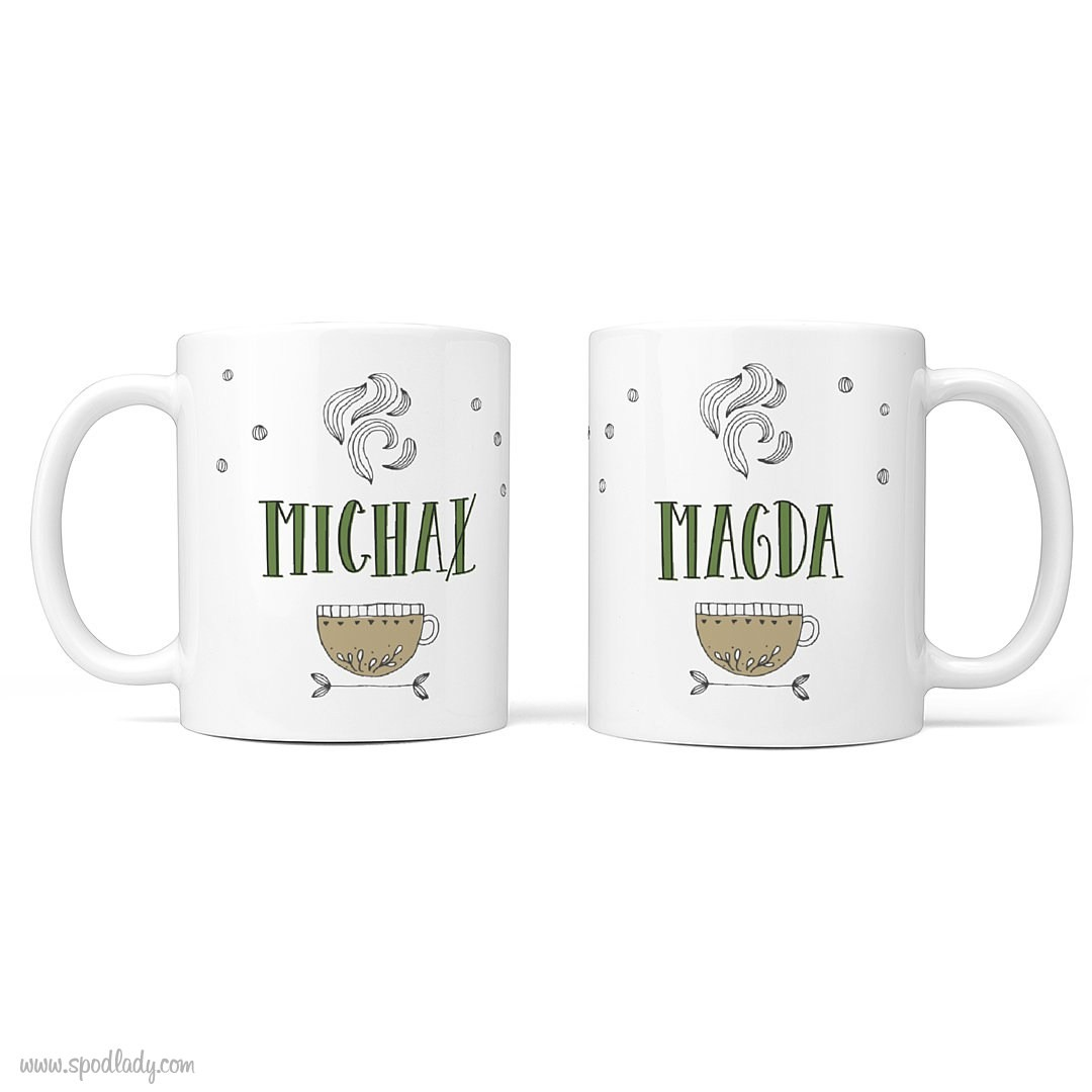 Zestaw herbaciany dla dwojga z kubkami - kubek biały główne 2 strony