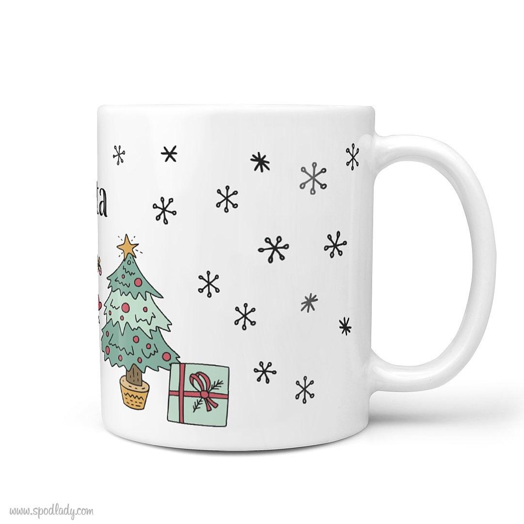 Zestaw świąteczny w czerwieniach - kubek biały główne bok