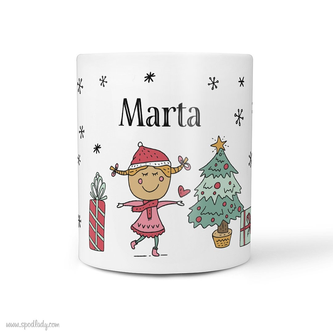 Zestaw świąteczny z imieniem dla niej - kubek biały główne przód