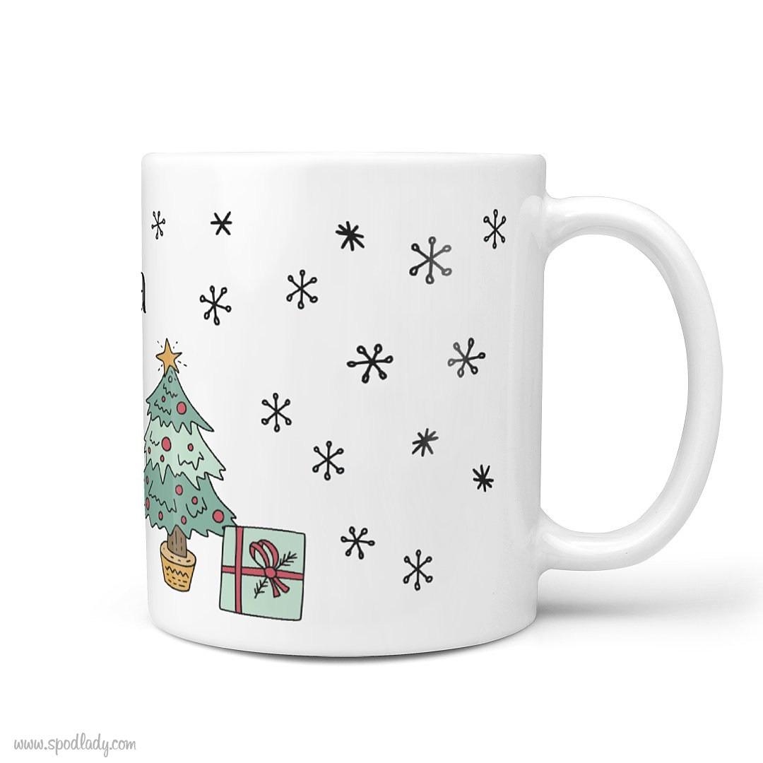 Zestaw świąteczny z imieniem dla niej - kubek biały główne bok