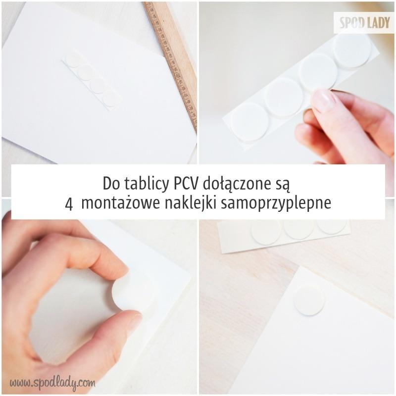 Tablicę można przymocować za pomocą naklejek samoprzylepnych.