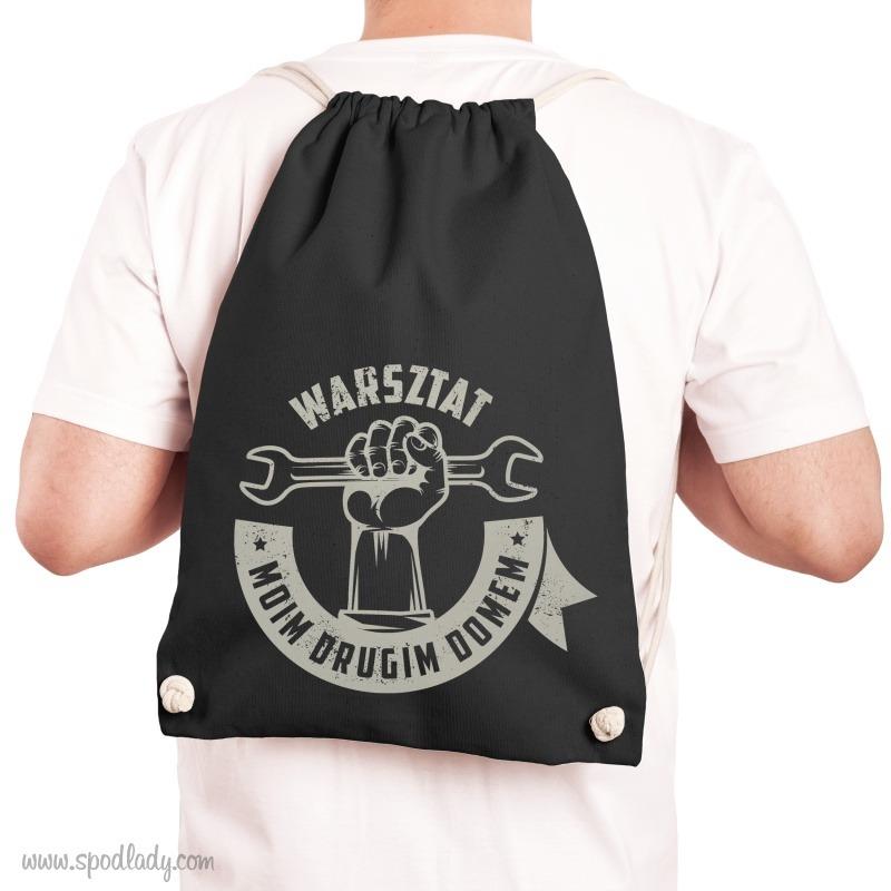 Plecak dla majsterkowicza i automaniaka. Worek z nadrukiem w sam raz na prezent.