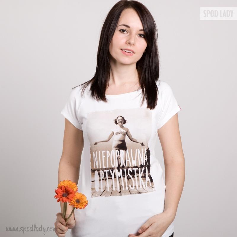 Koszulka damska dla optymisty. Sympatyczny pomysł na prezent.