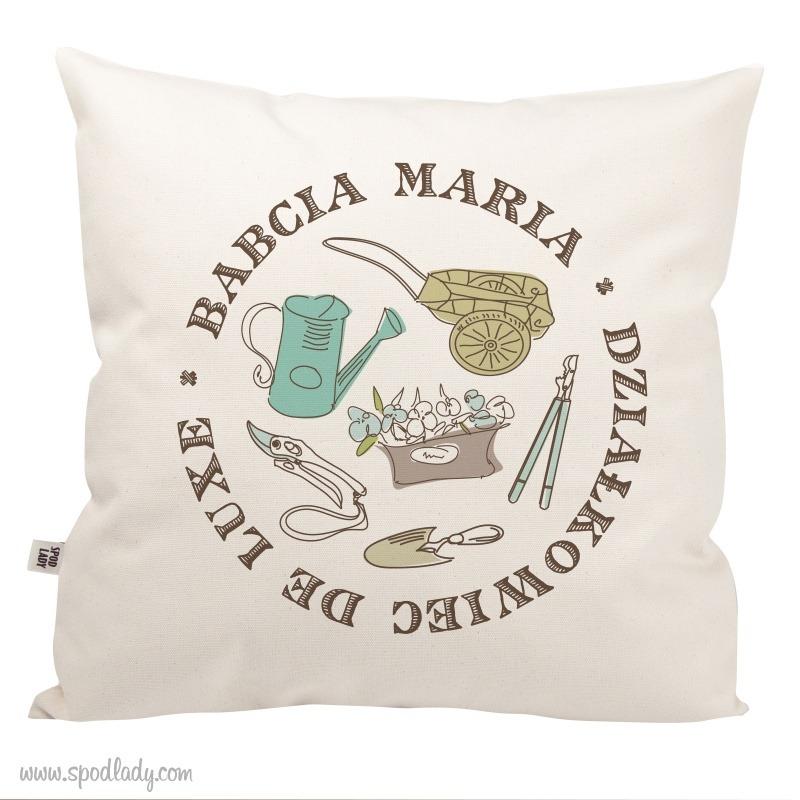 Personalizowania poduszka dla miłośnika działki.