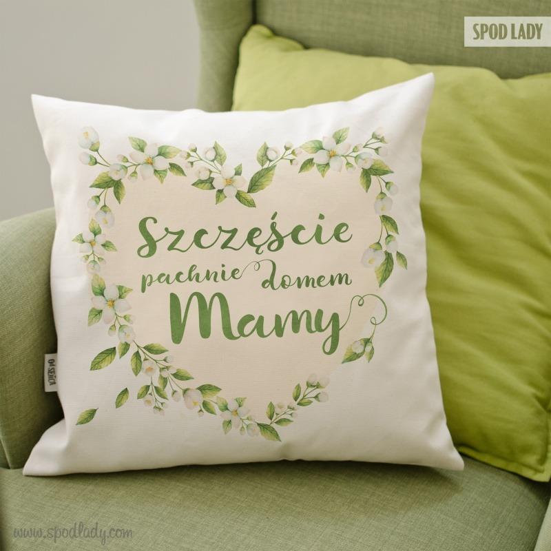 Poduszka z sympatycznym i ciepłym nadrukiem jako prezent dla mamy.