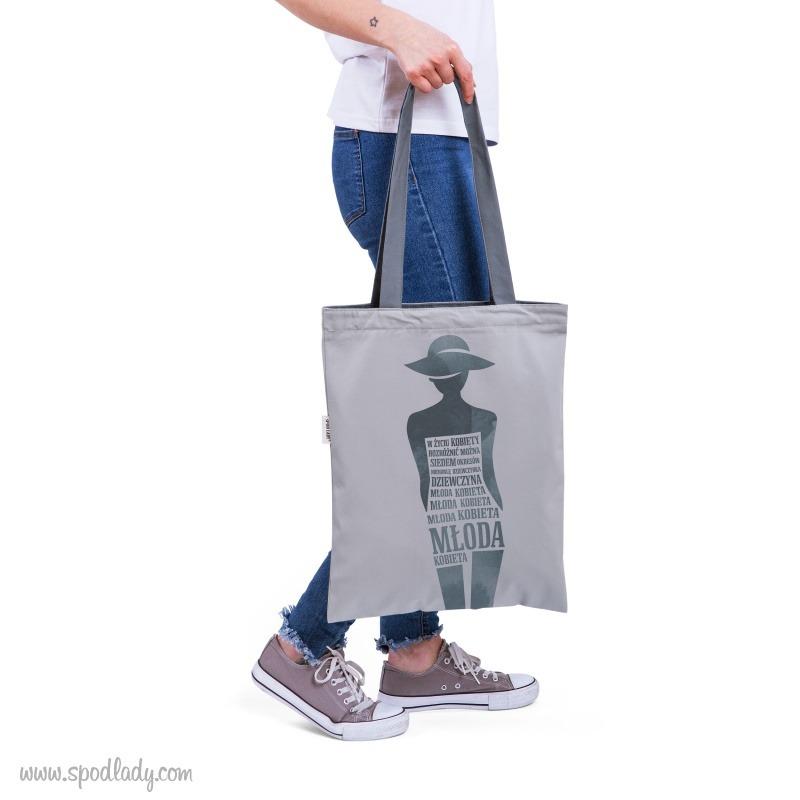 Szara torba z ciekawym nadrukiem. Prezent dla kobiety.
