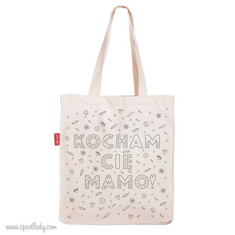Upominek dla mamy od dziecka. Pojemna torba: Kocham Cię mamo.