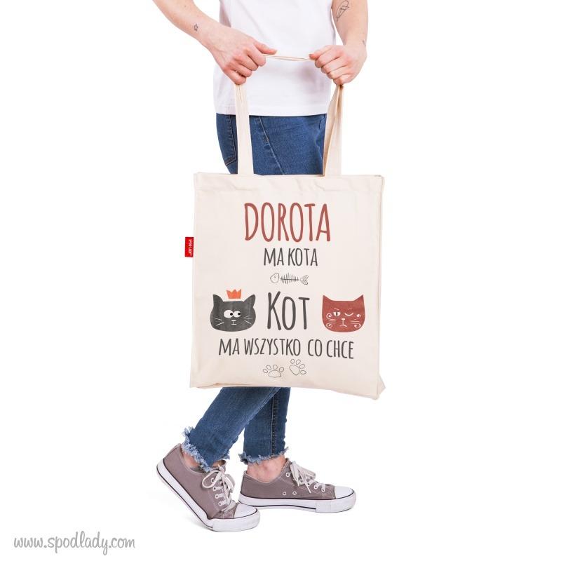 Prezent dla miłośniczki kotów. Personalizowana torba jako idealny prezent dla niej..