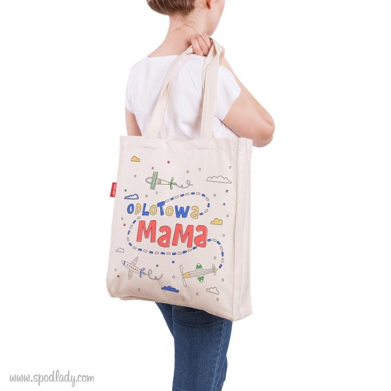 Upominek dla mamy, zabawna torba do pokolorowania przez dziecko. Humorystyczny nadruk: Odlotowa mama.