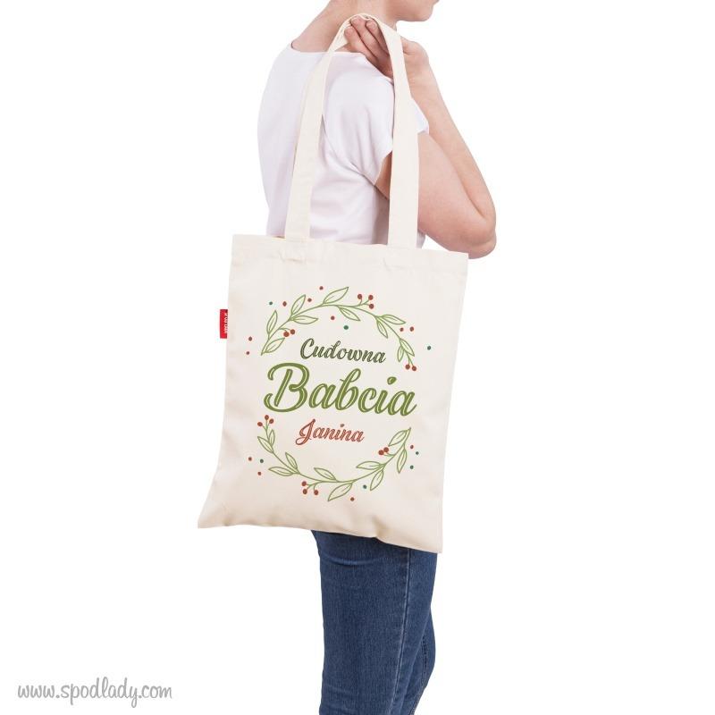 Torba dla babci z możliwością personalizacji. Sympatyczny pomysł na prezent dla babci.