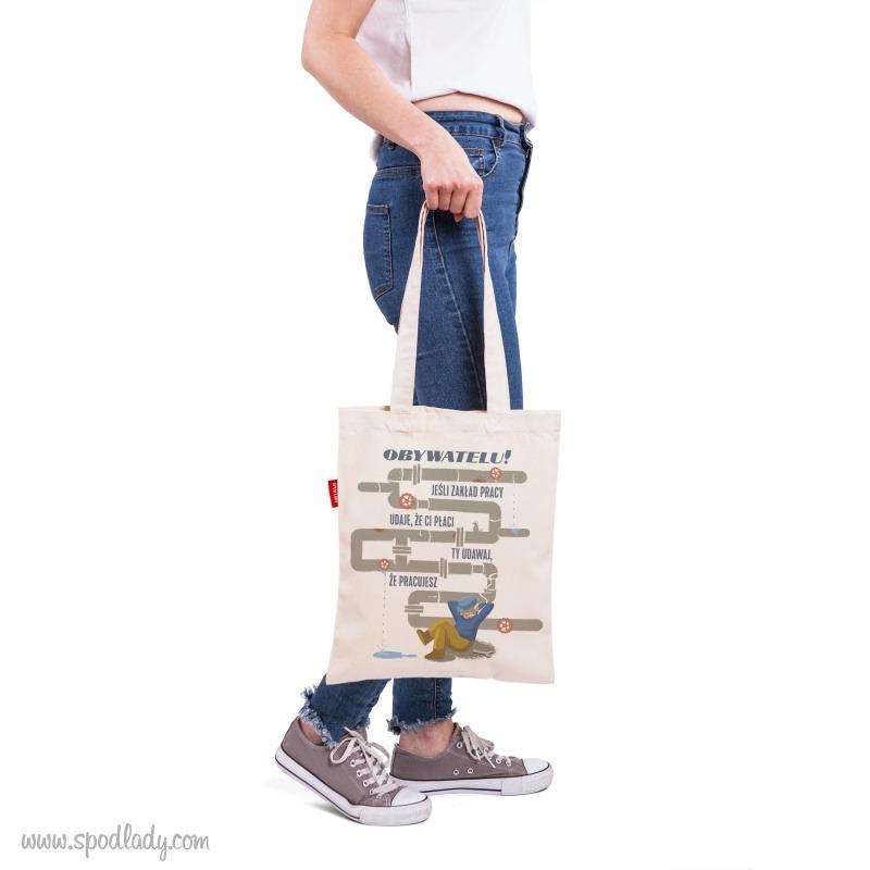 Zabawny nadruk na torbie. Pomysł na śmieszny prezent.