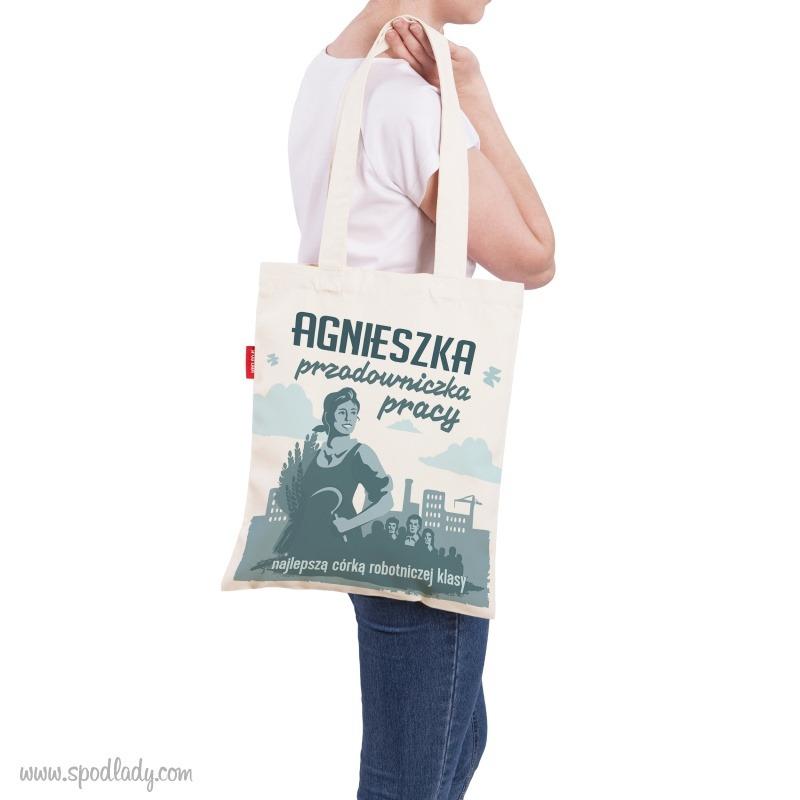 Personalizowana torba z nadrukiem: Przodowniczka pracy. Ciekawy pomysł na prezent dla szefowej, żony czy dziewczyny.