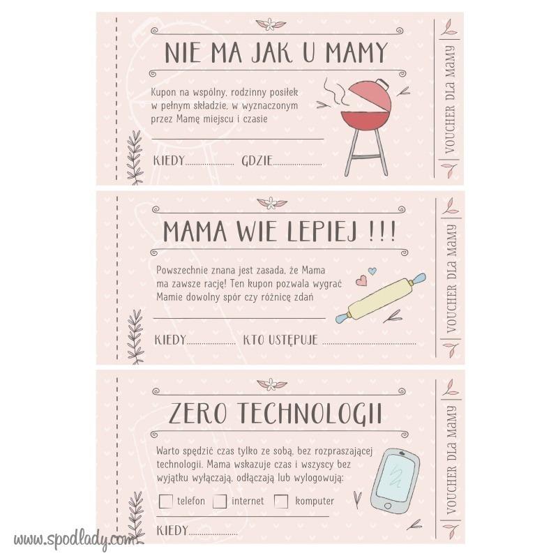 Zabawne vouchery dla mamy. Pomysł na upominek.