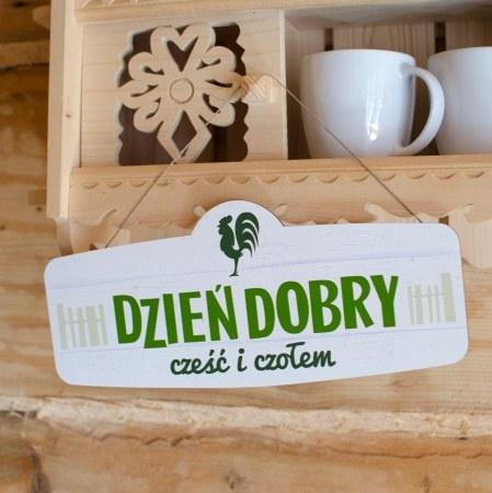 """Tabliczka drewniana """"Dzieñ dobry"""""""