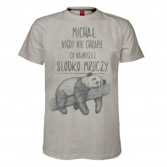 """Koszulka m�ska z imieniem """"Nie chrapie, s�odko mruczy"""""""