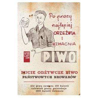 """Tablica """"Od¿ywcze piwo ludzi pracy"""""""
