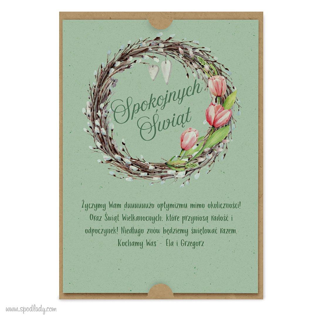"""Kartka """"Spokojnych Świąt"""" z tulipanami"""