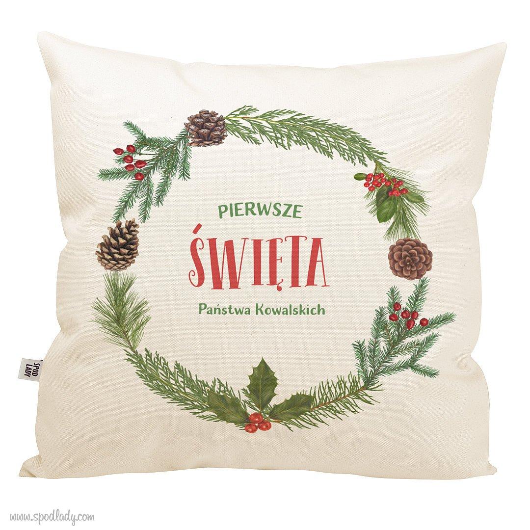 """Personalizowana poduszka """"Wesołych świąt"""""""