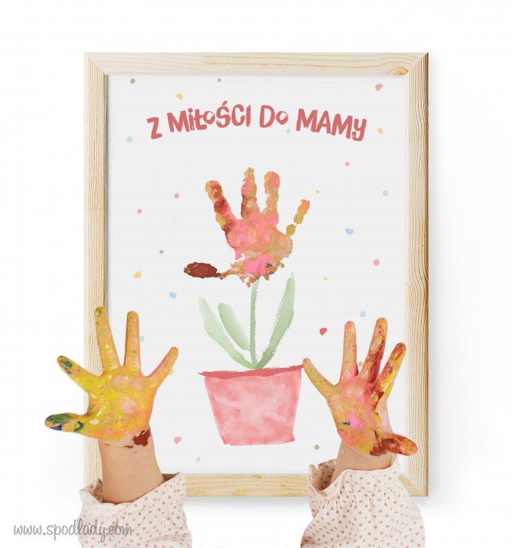 """Obrazek """"Kwiatek dla mamy"""" do ozdobienia rączkami"""