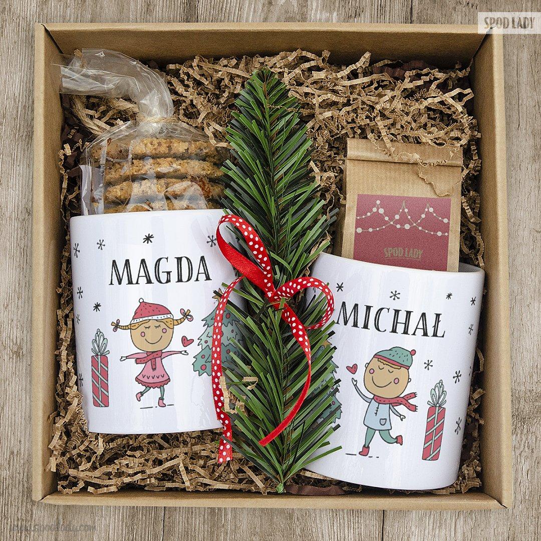 Zestaw świąteczny dla dwojga z kubkami
