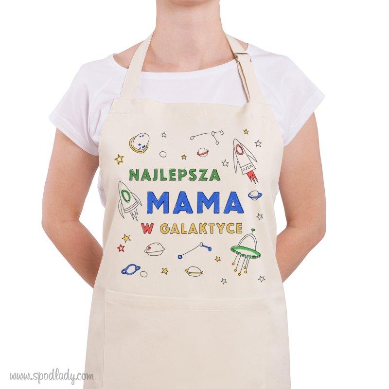 """Fartuch """"Najlepsza mama w galaktyce"""" do kolorowania"""