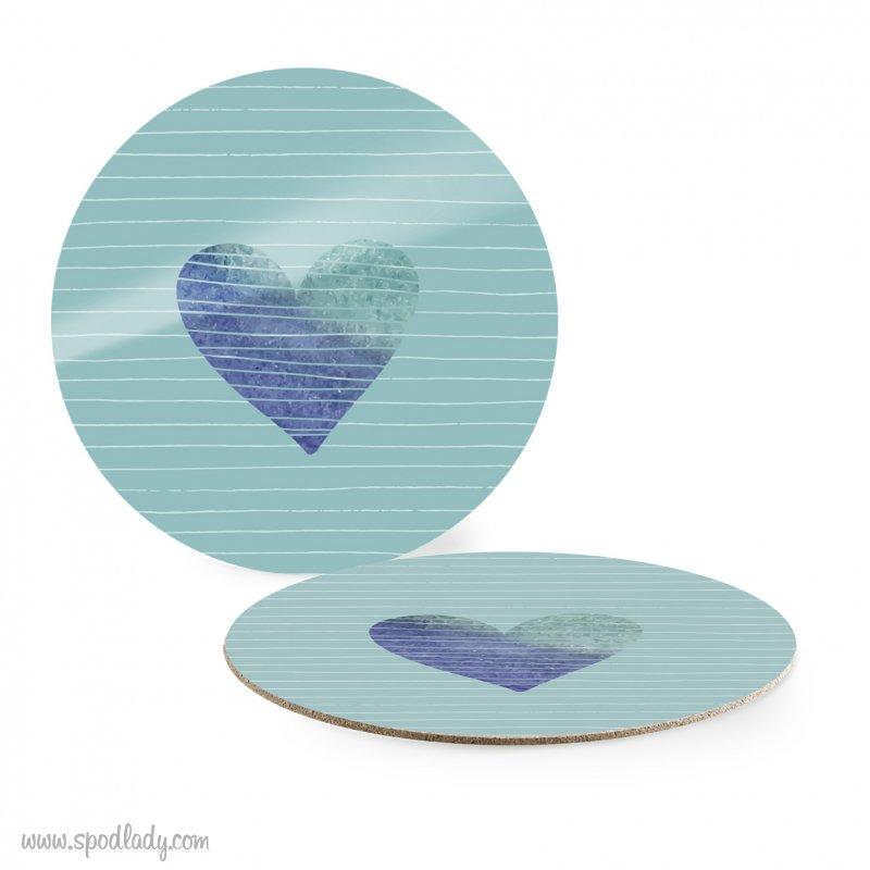Podkładka niebieska pod kubek z sercem