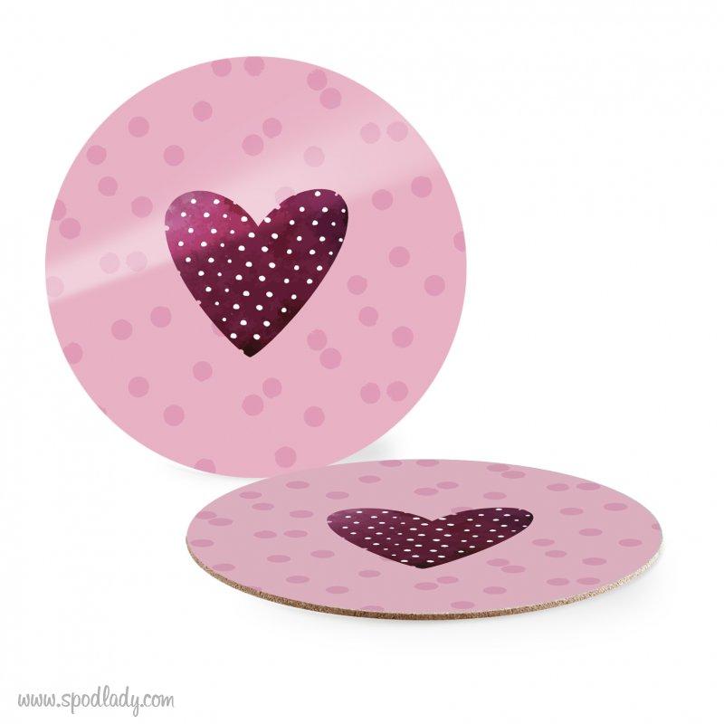 Podkładka różowa pod kubek z sercem