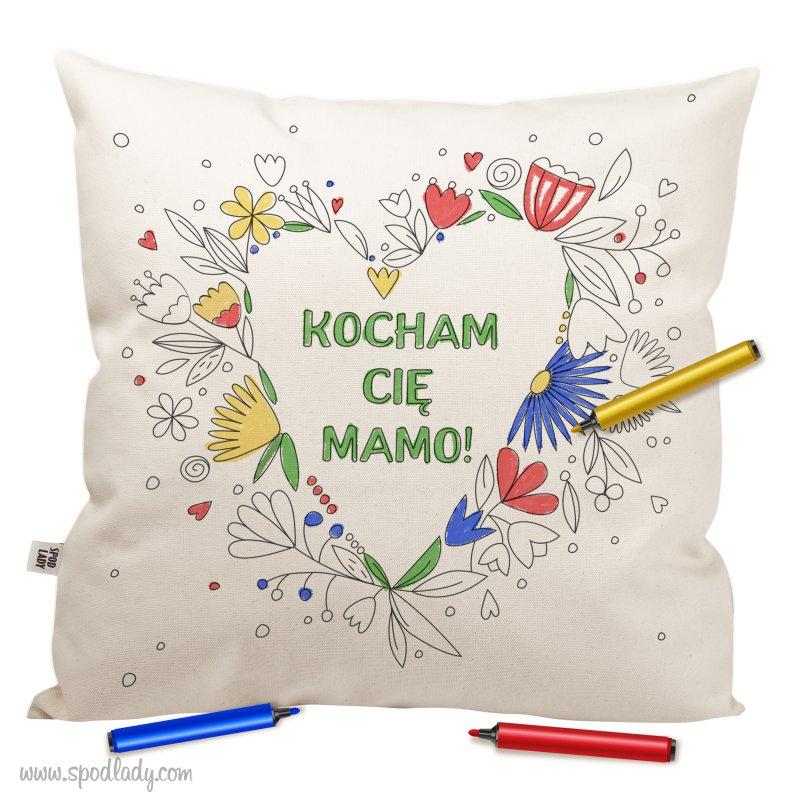 "Poduszka ""Kocham ciê mamo"" - Serce do kolorowania"