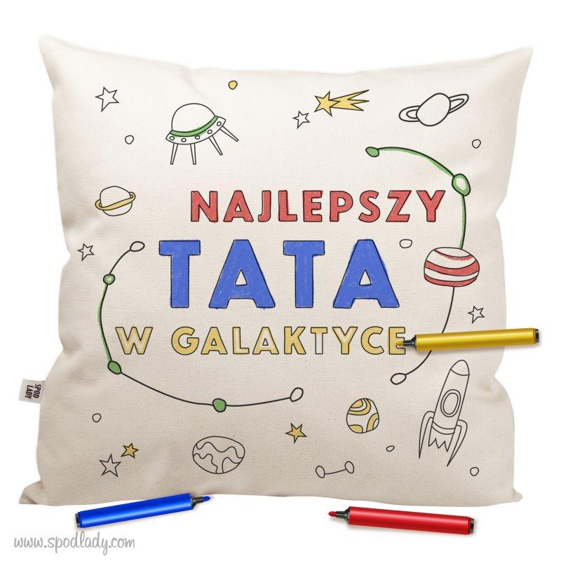"""Poduszka """"Najlepszy tata w galaktyce"""" do kolorowania"""
