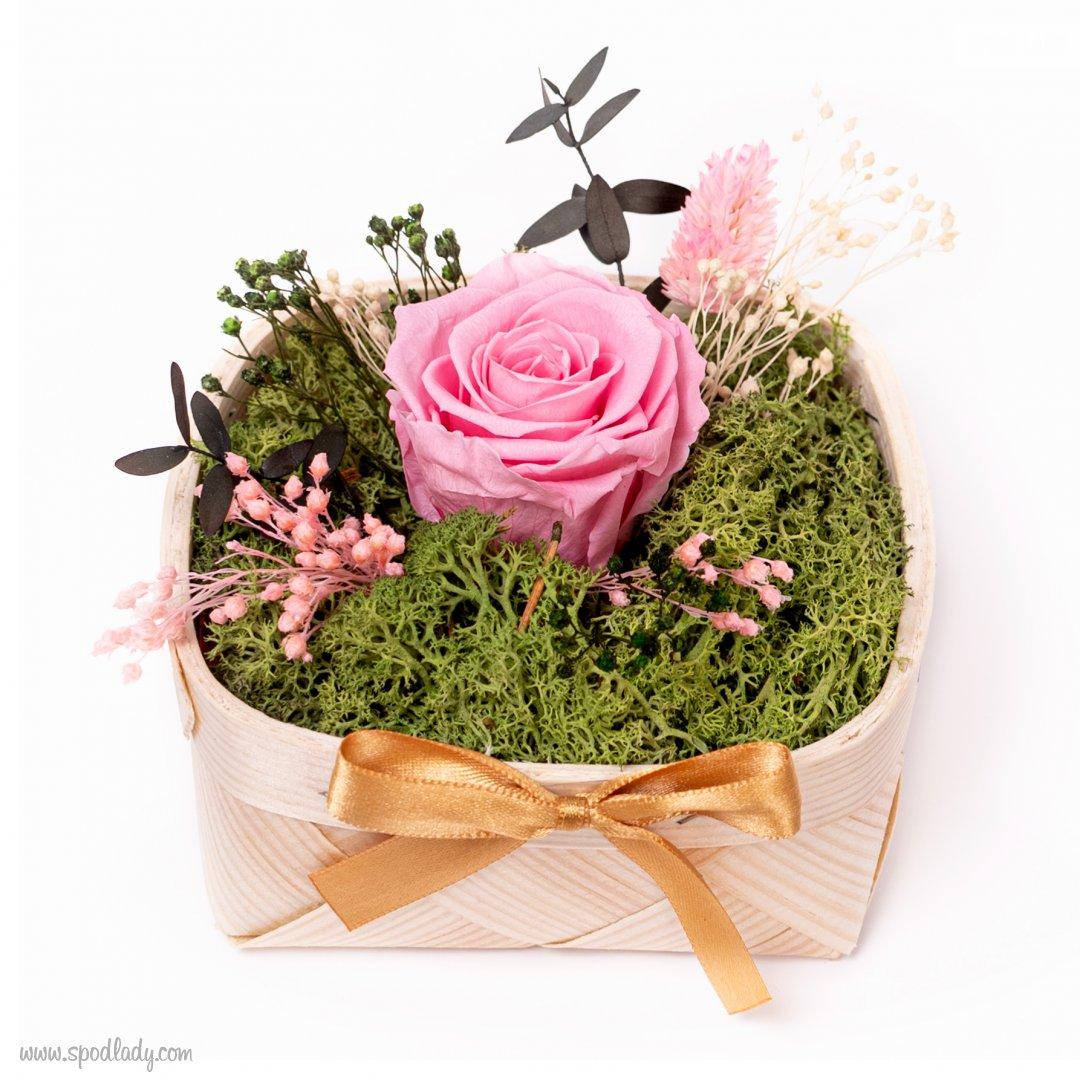 Różowa róża w koszyczku