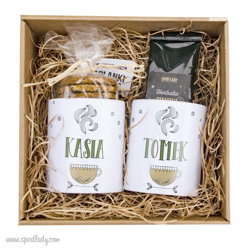 """Zestaw personalizowany """"Herbatka dla dwojga"""" w kartoniku"""
