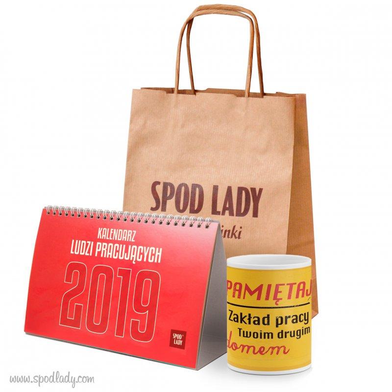 Kubek Zakład z kalendarzem pracowniczym w torebce